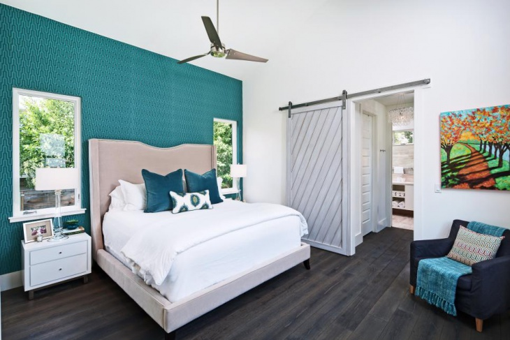 traditional teal bedroom
