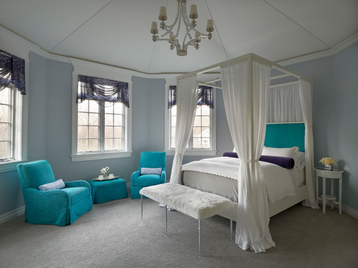 canopy teal bedroom