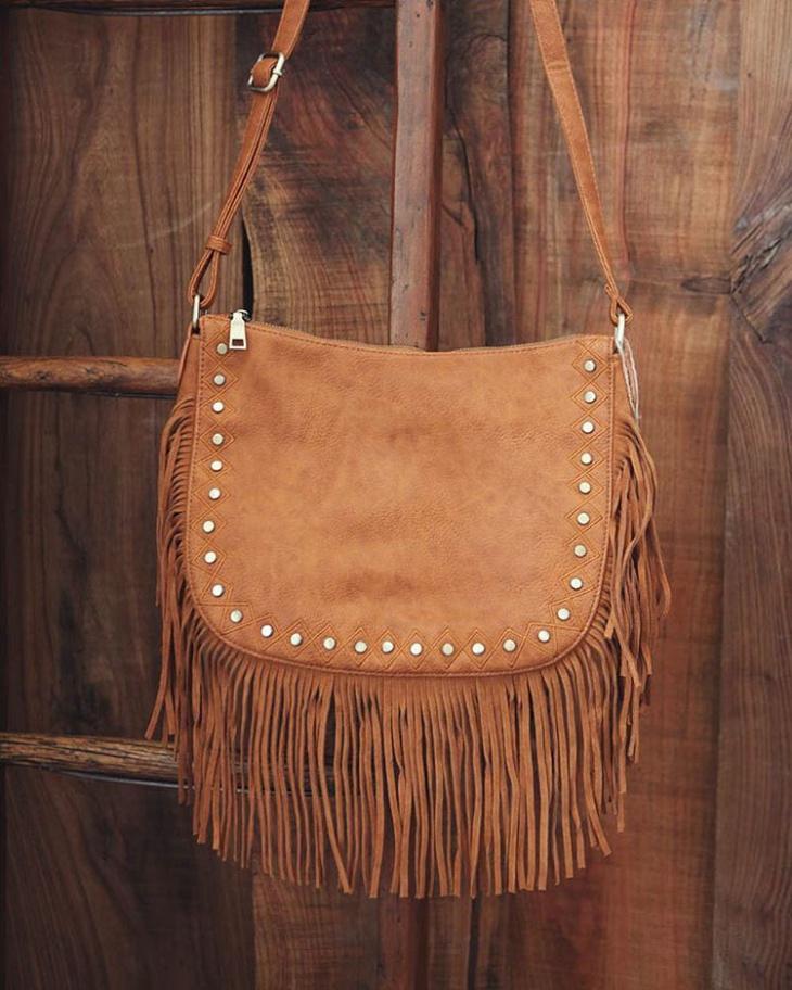designer leather fringe handbag