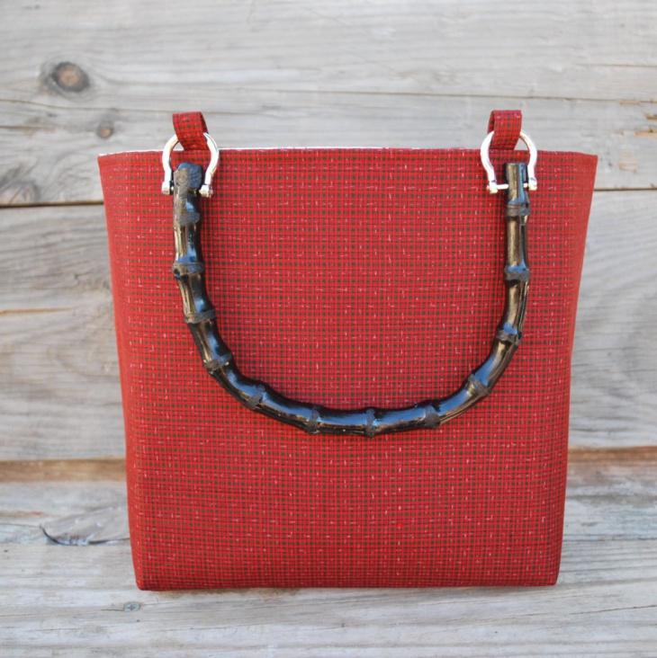red plaid handbag design