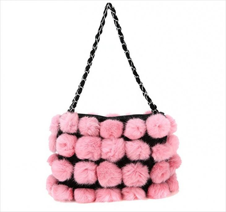 pink fur handbag design