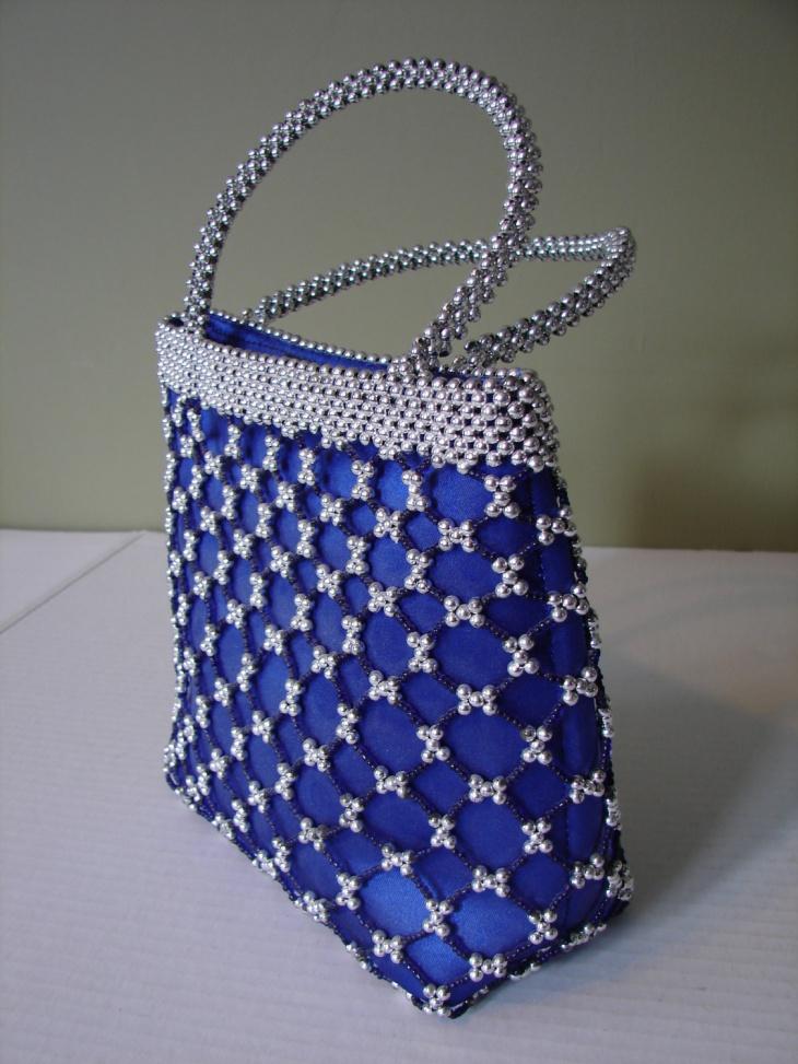 silver beaded handbag design