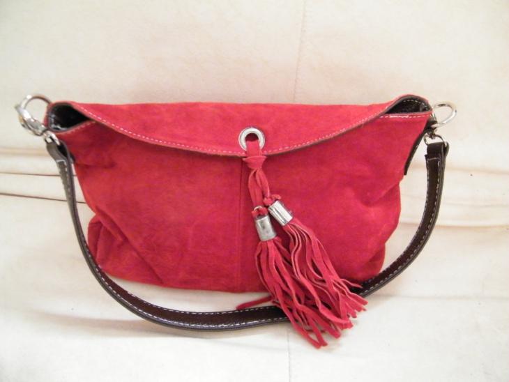 red suede handbag design