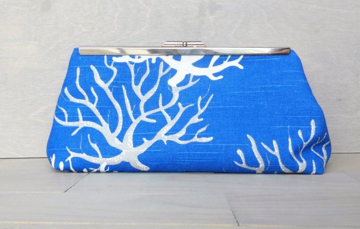 coral clutch handbag