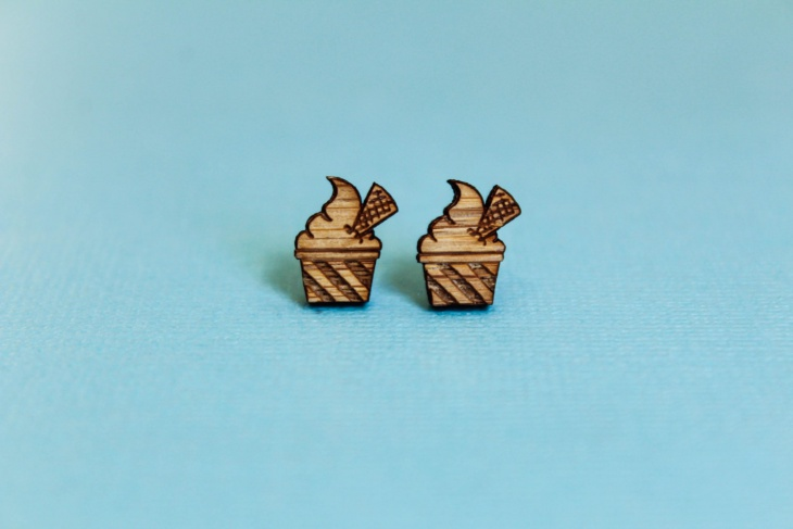bamboo ice cream stud earrings