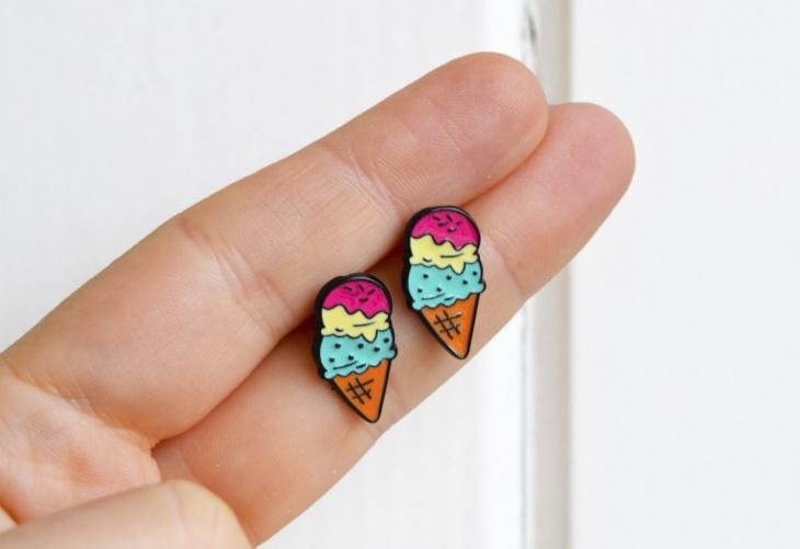Enamel Ice Cream Earrings