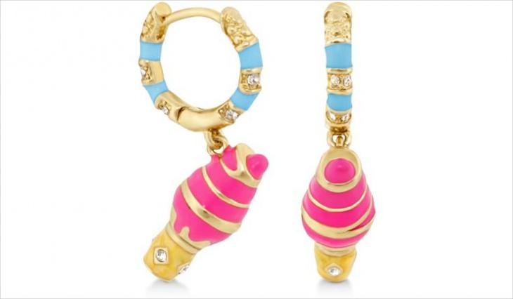 Gold Ice Cream Dangle Earrings