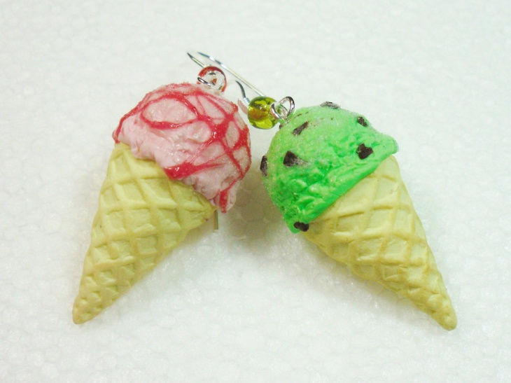 polymer clay ice cream earrings