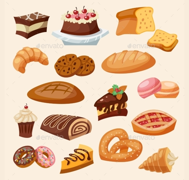 Flat Pastry icons Set