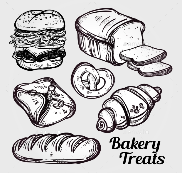 vintage bakery and pastry icons set