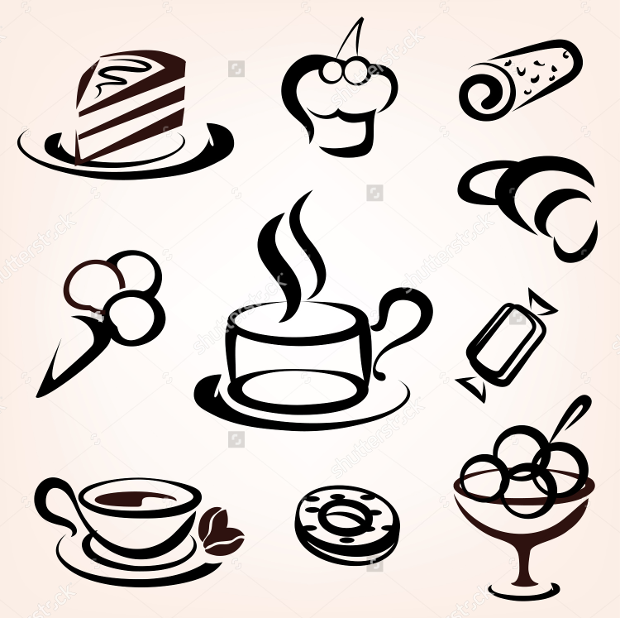 Cafe and Sweet Pastry Icons