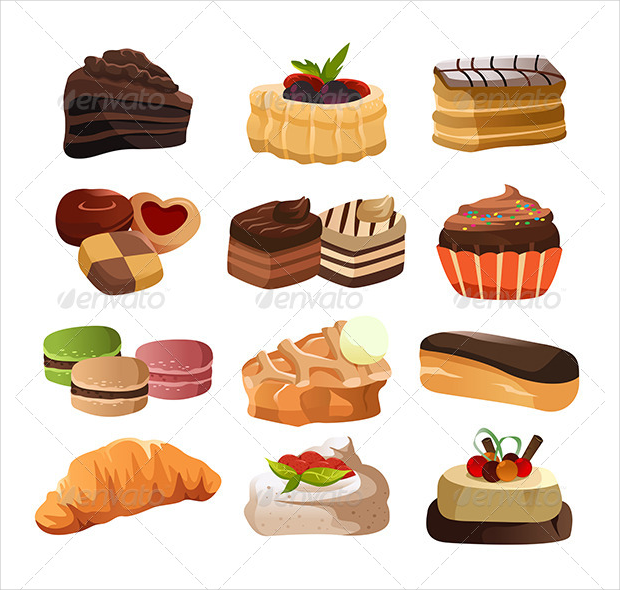 Colorful Pastry Icons