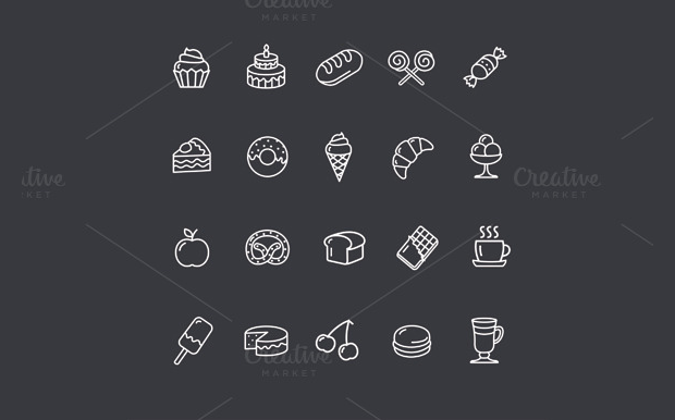 Bakery and Pastry Outline Icons