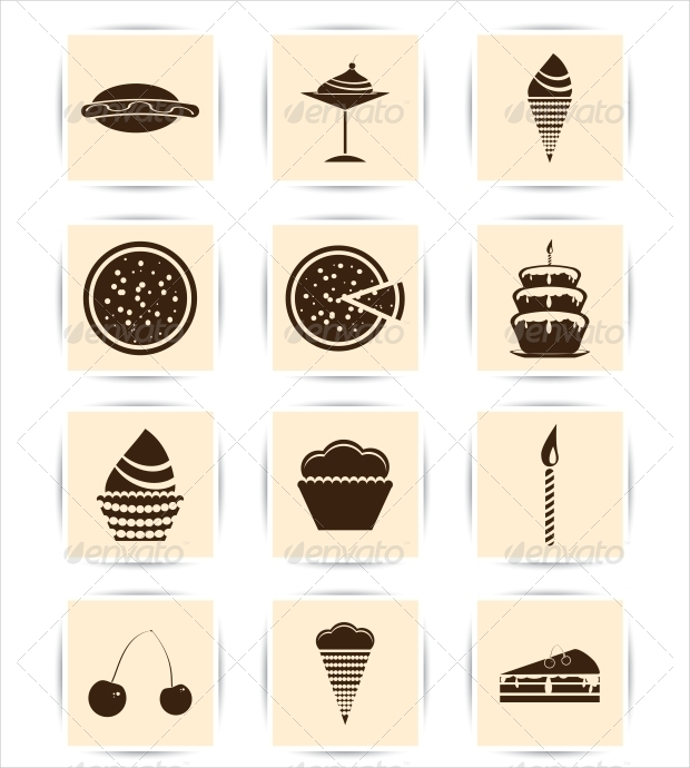 cake and pastry desert icons