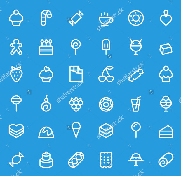 Thin Line Sweet Pastry Icons