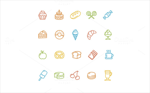 bakery pastry outline icons