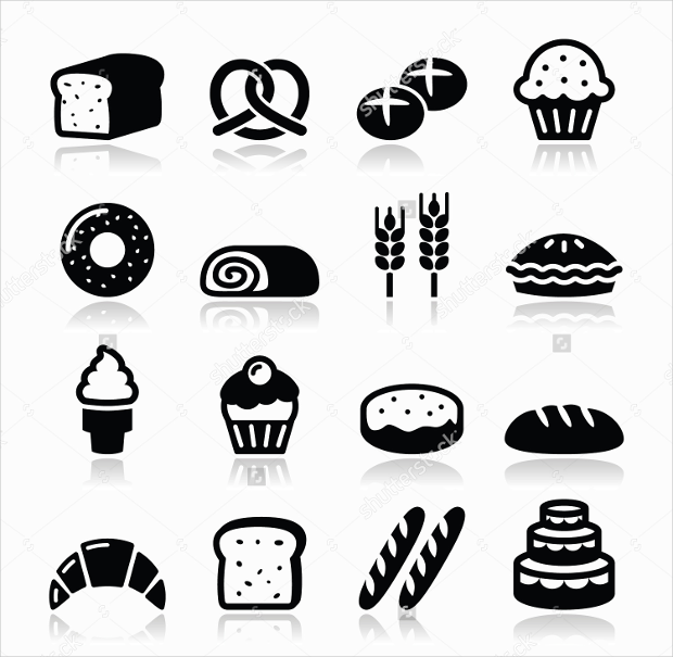 black bakery and pastry icons