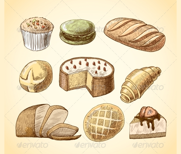 pastry and bread decorative icons