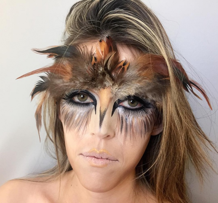 bird feathers makeup idea