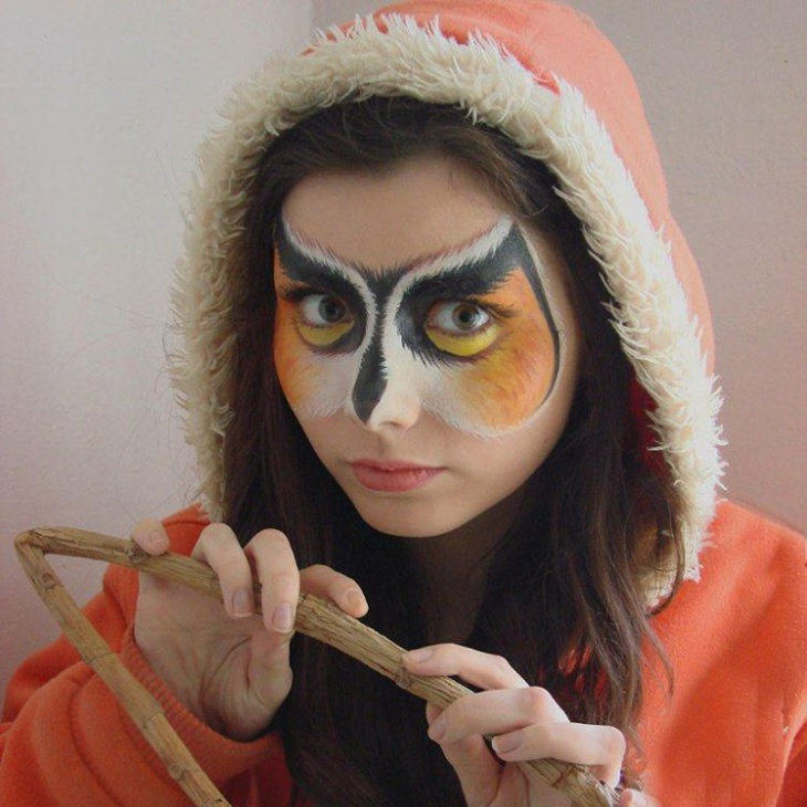 owl bird face makeup idea