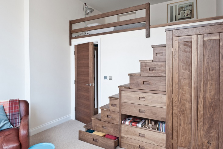 wooden space saving staircase