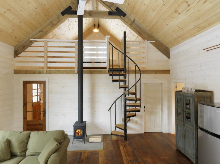 wood space saving spiral staircase