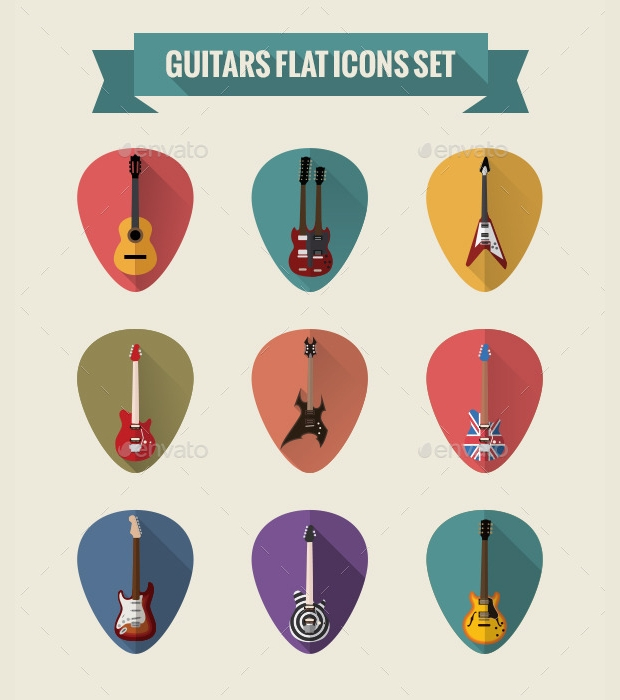 guitars flat icons set