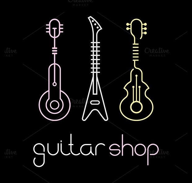 outline guitar icons