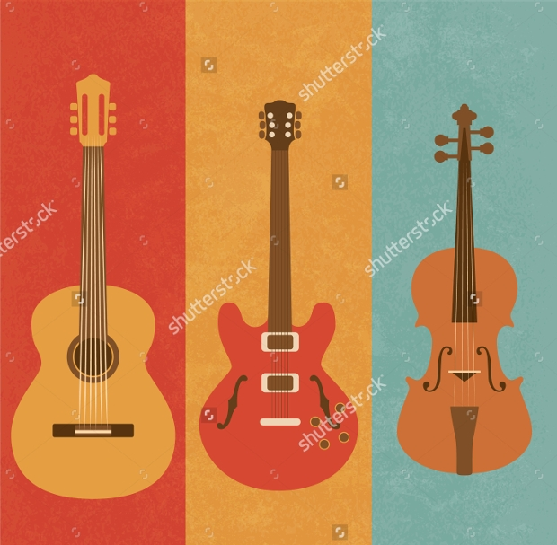 retro guitar icons