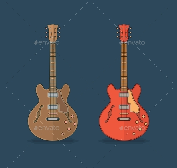 Classic Guitar Flat Icons