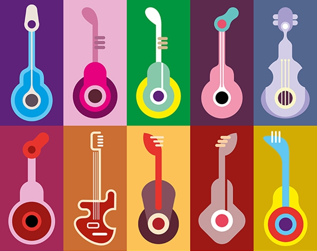high resolution guitar line icons