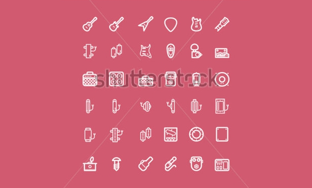 colorful guitar vector icons set
