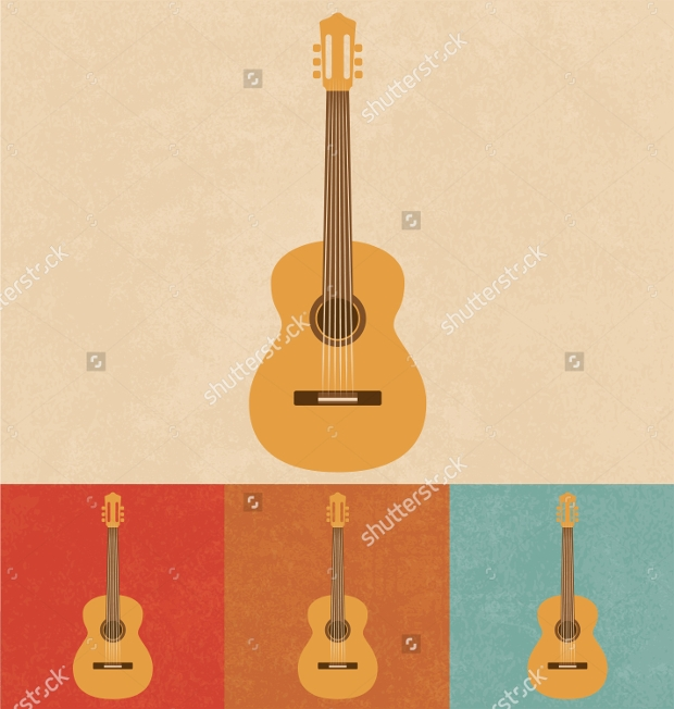 acoustic retro guitar icons