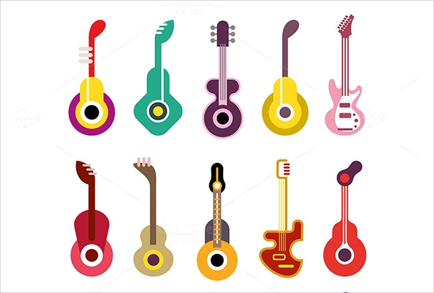 guitar vector icons set