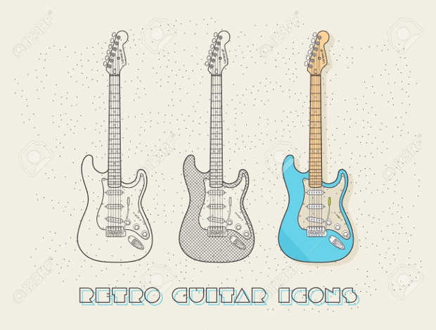 retro wired guitar icons