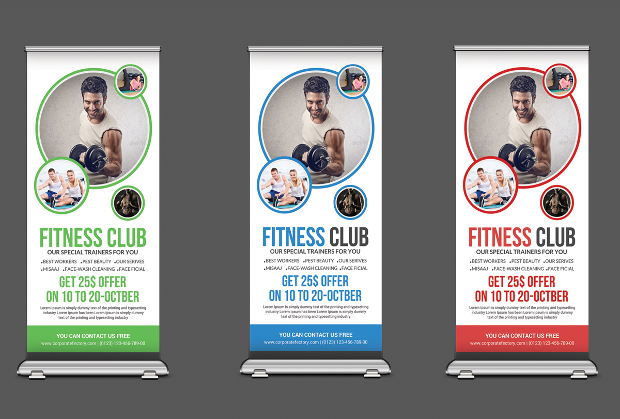 sports and fitness roll up banners