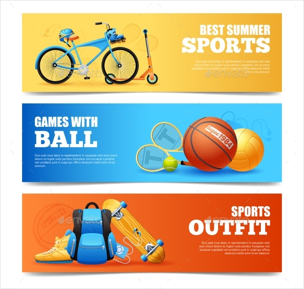 Summer Sports Banners Set