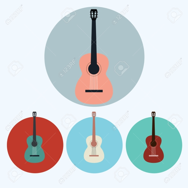 acoustic wooden guitar icons