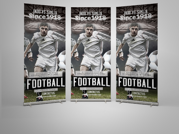 football roll up banner template