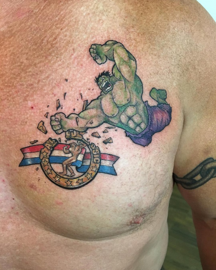 Hulk Chest Tattoo