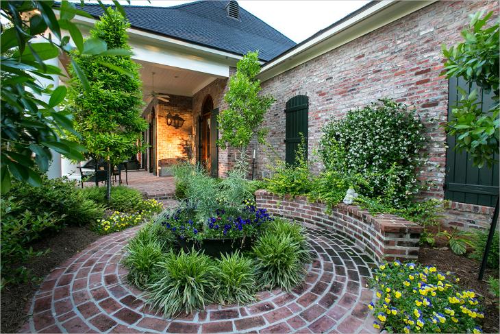 brick circular patio design