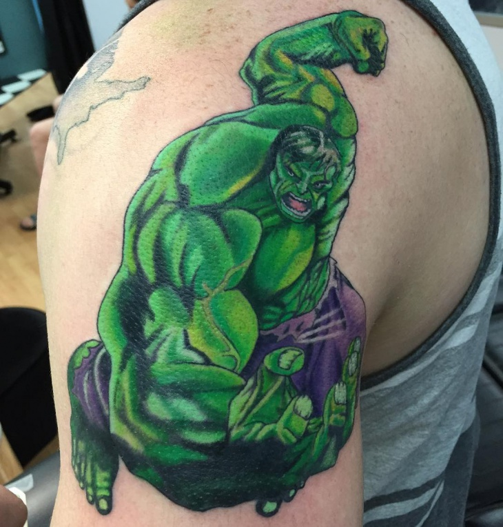 hulk shoulder tattoo