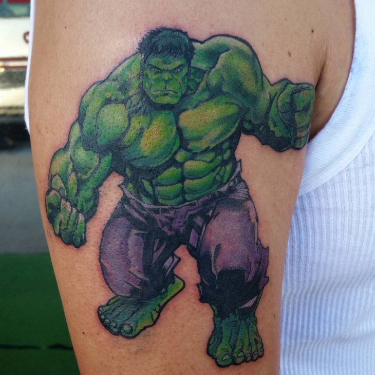 Purple and Green Hulk Tattoo