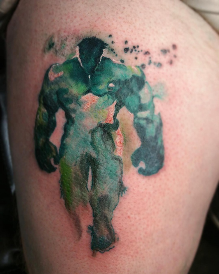 watercolor hulk tattoo