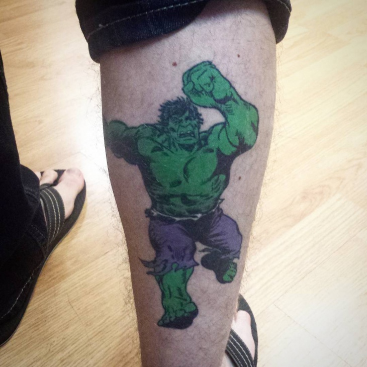 Hulk Leg Tattoo Design