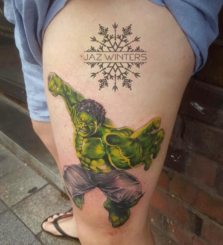 hulk tattoo on thigh
