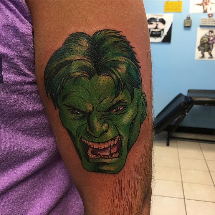 hulk head tattoo idea