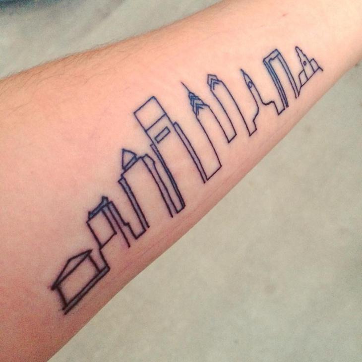 simple skyline tattoo idea