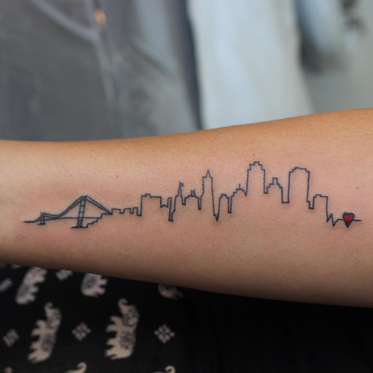 Outline Skyline Tattoo Design