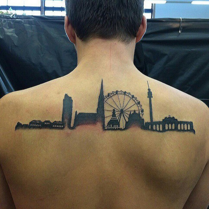 silhouetted skyline tattoo idea